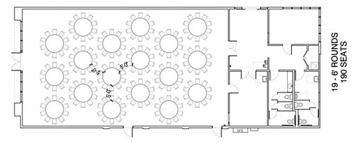 Floor Layout #01 <BR>19 - 6' Rounds <BR>190 Seats