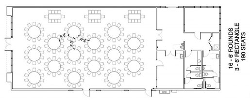 Floor Layout #02 <BR>16 - 6' Rounds <BR>3 - 6' Rectangle <BR>190 Seats