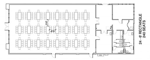 Floor Layout #03 <BR>24 - 6' Rectangle <BR>240 Seats