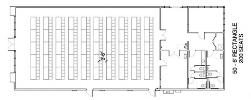 Floor Layout #05 <BR>50 - 6' Rectangle <BR>200 Seats