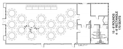 Floor Layout #11 <BR>15 - 6' Rounds <BR>4 - 6' Rectangle <BR>170 Seats