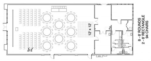 Floor Layout #12 <BR>8 - 6' Rounds <BR>2 - 6' Rectangle <BR>94 Seats