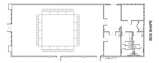 "Floor Layout #17 <BR>""Box"" Shape <BR>16 - 6' Rectangle <BR>64 Seats"